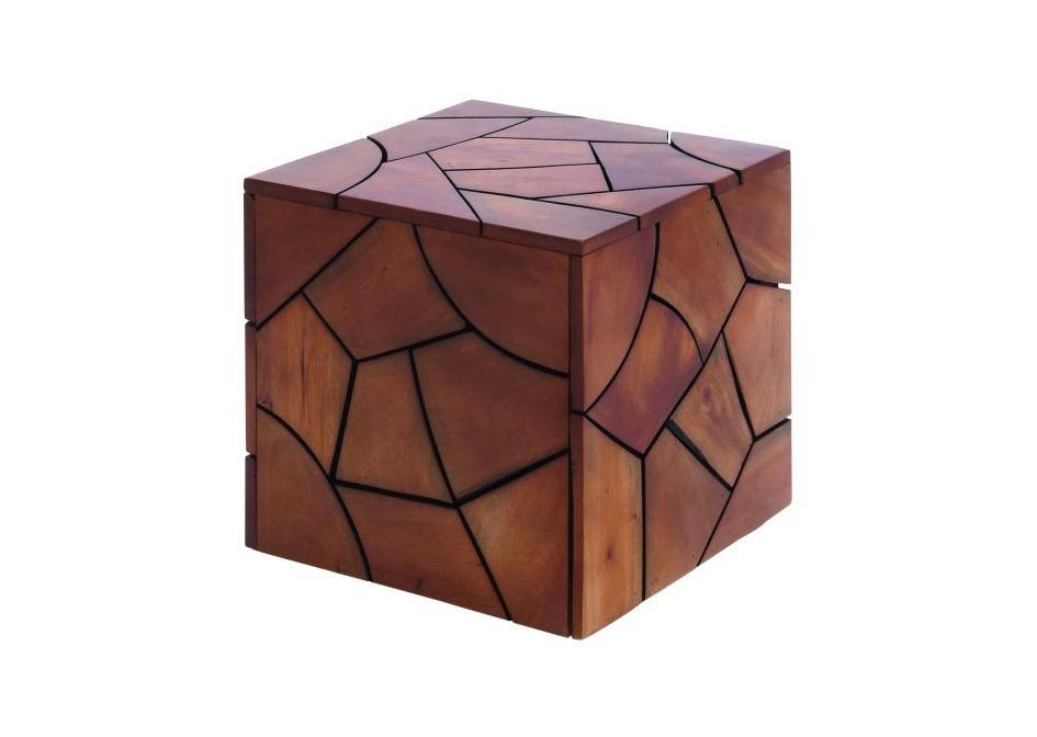 Wood cube 18x18x18 cognac