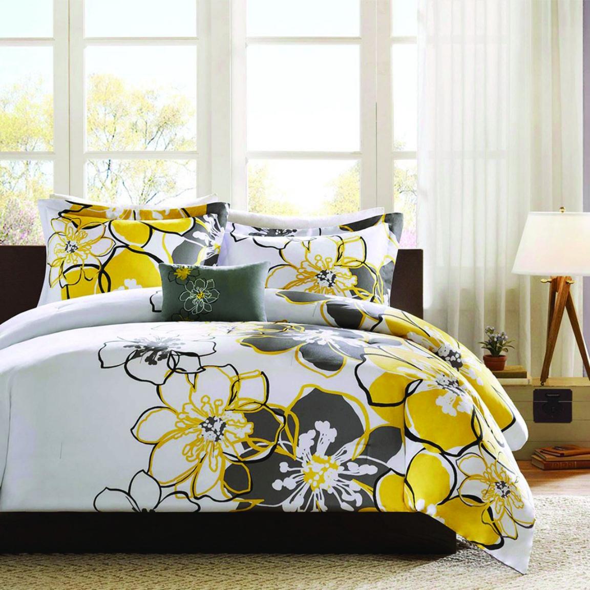 ALLISON comforter  FULL/QUEEN  4 pcs set yellow/grey
